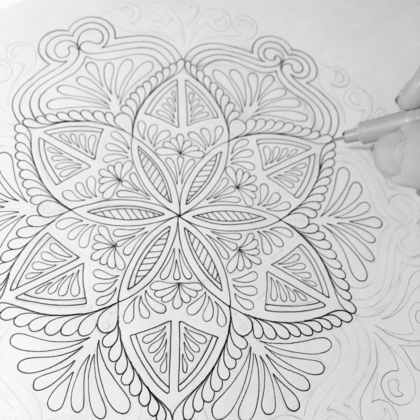 inking the sketch mandala